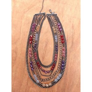 Jewelry - Multiple strand Chain link color beaded necklace